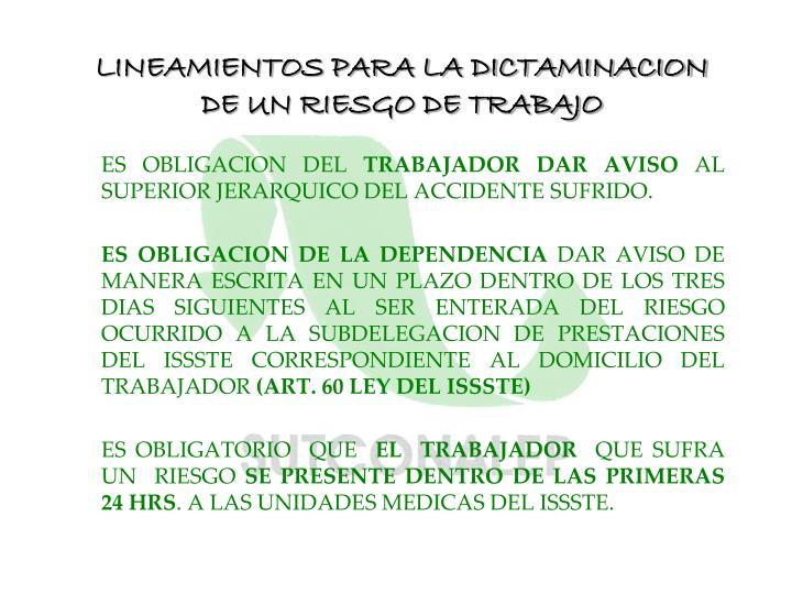 LINEAMIENTOS PARA LA DICTAMINACION DE UN RIESGO DE TRABAJO