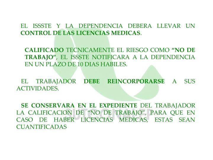 EL ISSSTE Y LA DEPENDENCIA DEBERA LLEVAR UN
