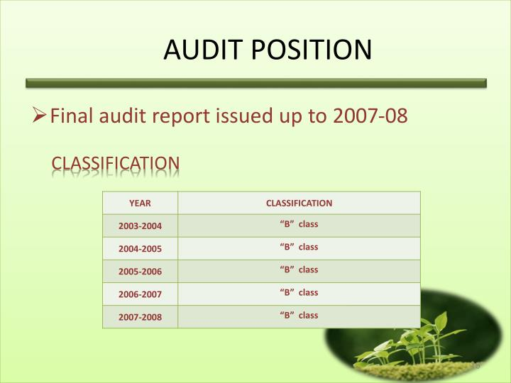 AUDIT POSITION