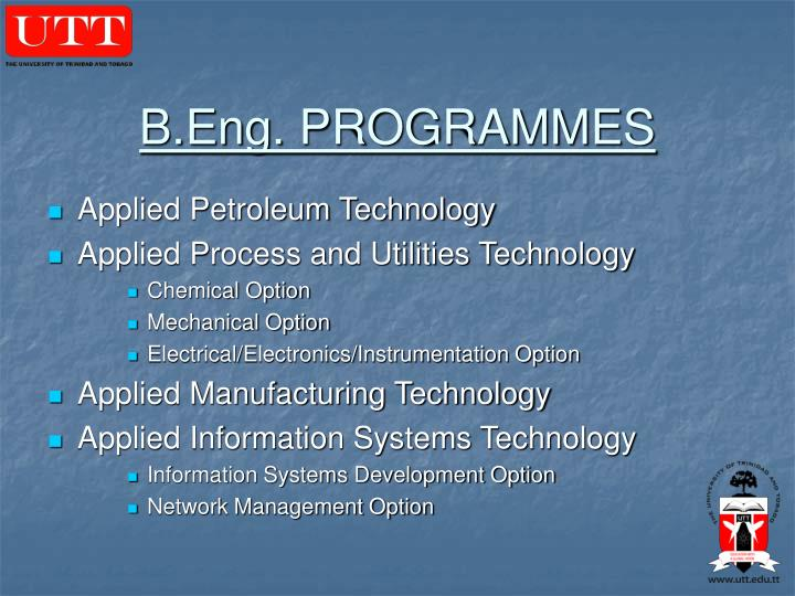 B.Eng. PROGRAMMES