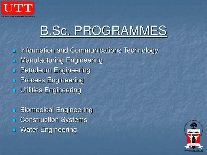 B.Sc. PROGRAMMES