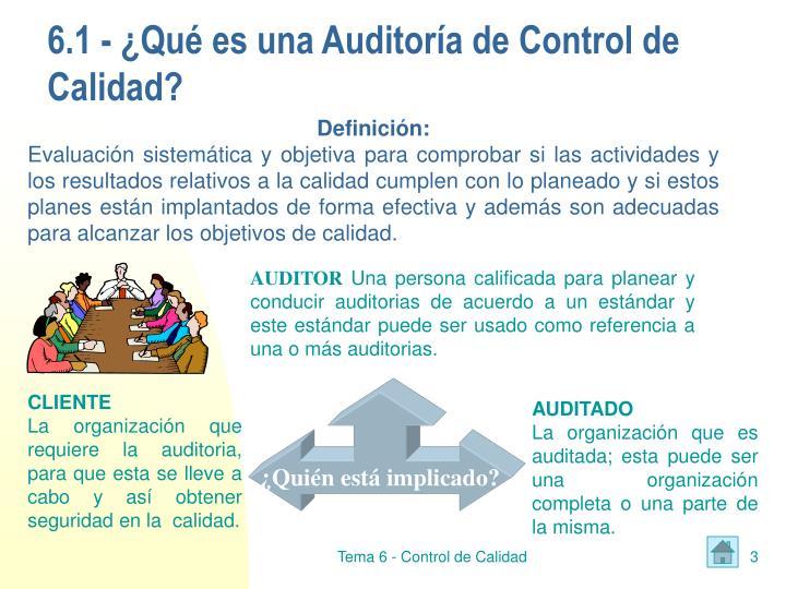 6.1 - ¿Qué es una Auditoría de Control de Calidad?