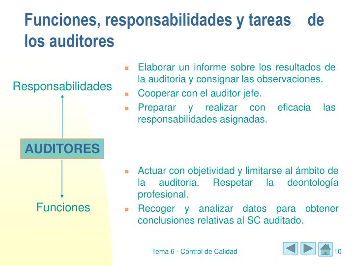 Funciones, responsabilidades y tareas de los auditores