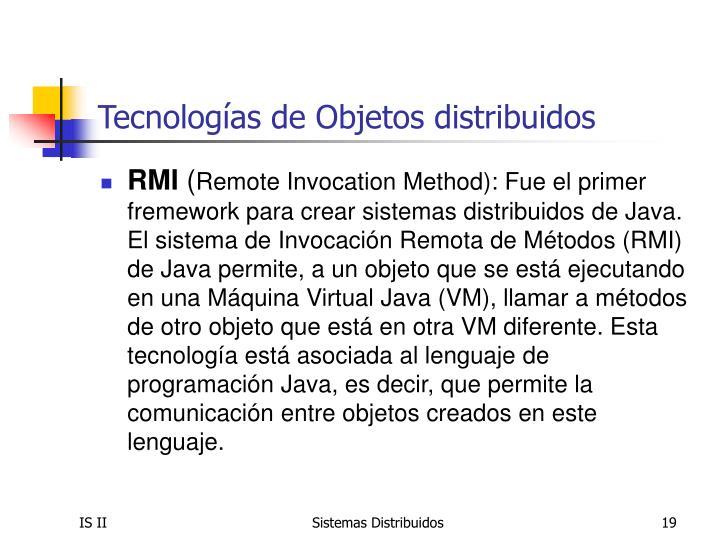 Tecnologías de Objetos distribuidos