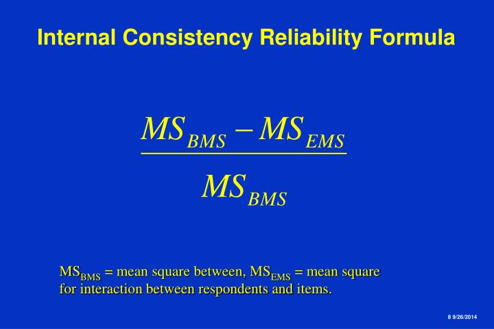 Internal Consistency Reliability Formula