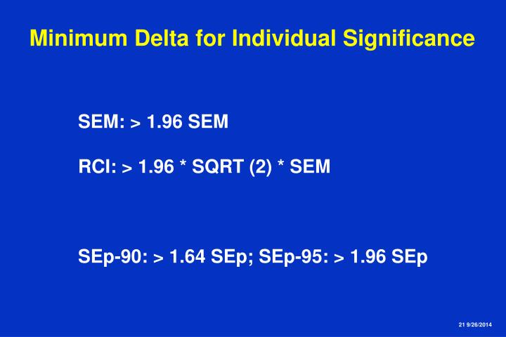 Minimum Delta for Individual Significance