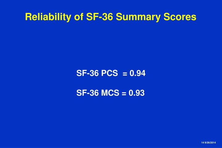 Reliability of SF-36 Summary Scores