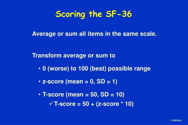 Scoring the SF-36