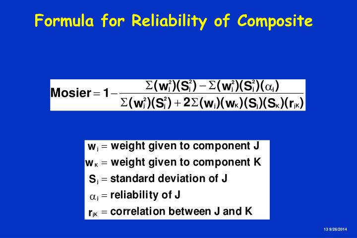 Formula for Reliability of Composite