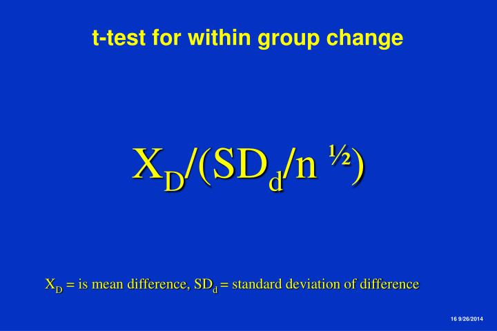 t-test for within group change