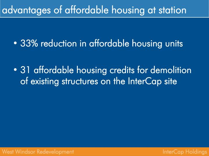 advantages of affordable housing at station