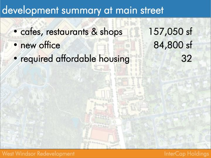 Development summary at main street