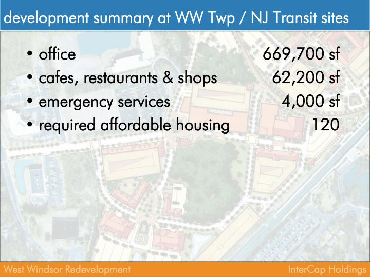 development summary at WW Twp / NJ Transit sites