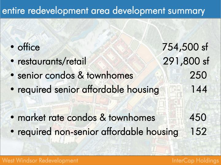 entire redevelopment area development summary