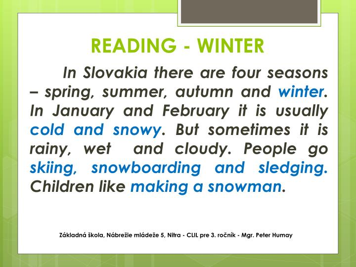 READING - WINTER