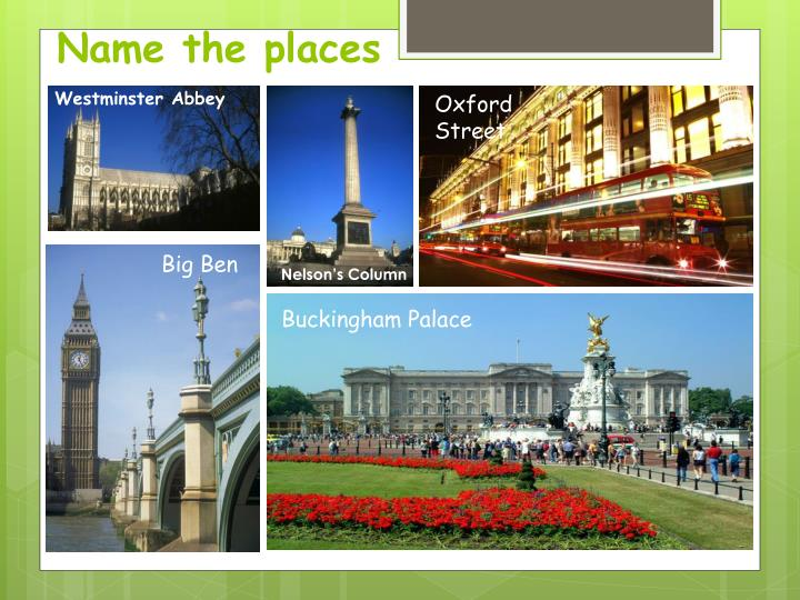 Name the places