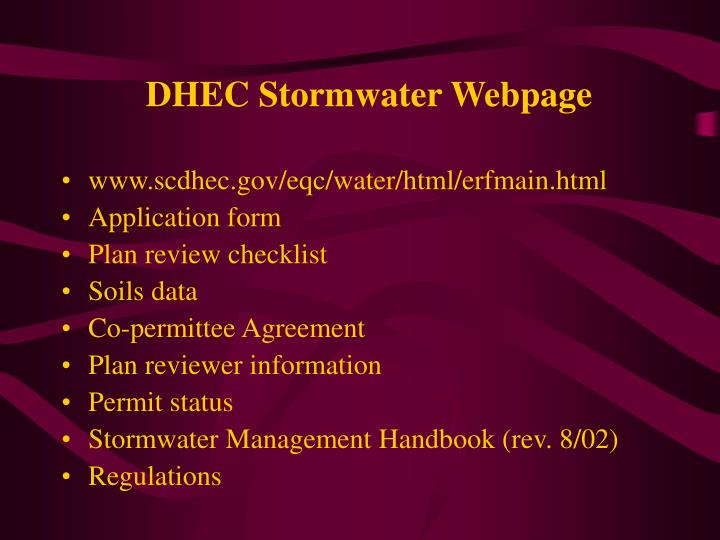 DHEC Stormwater Webpage