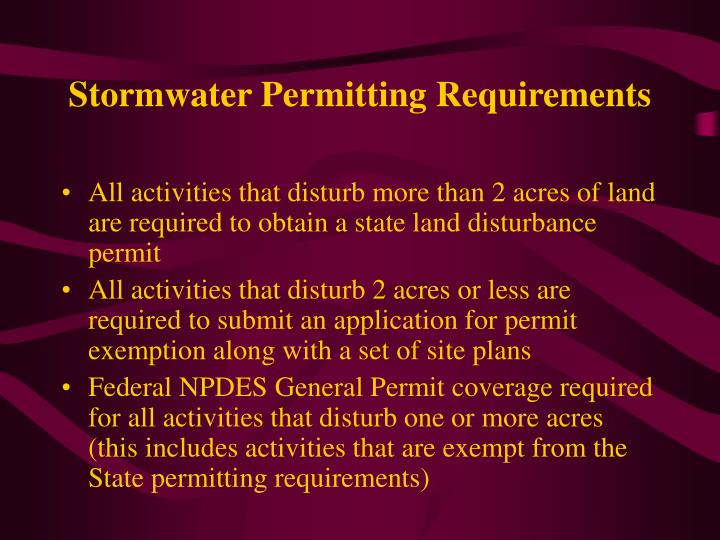 Stormwater Permitting Requirements
