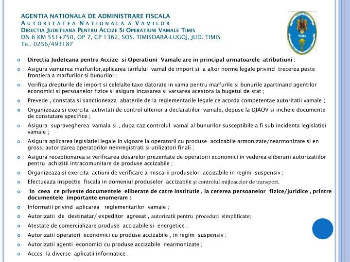 AGENTIA NATIONALA DE ADMINISTRARE FISCALA