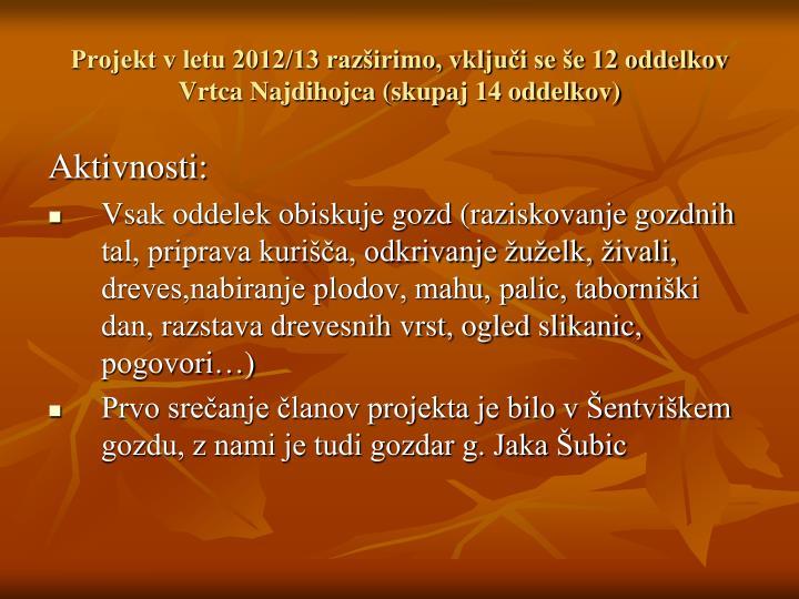 Projekt v letu 2012/13 razširimo, vključi se še 12 oddelkov Vrtca Najdihojca (skupaj 14 oddelkov)