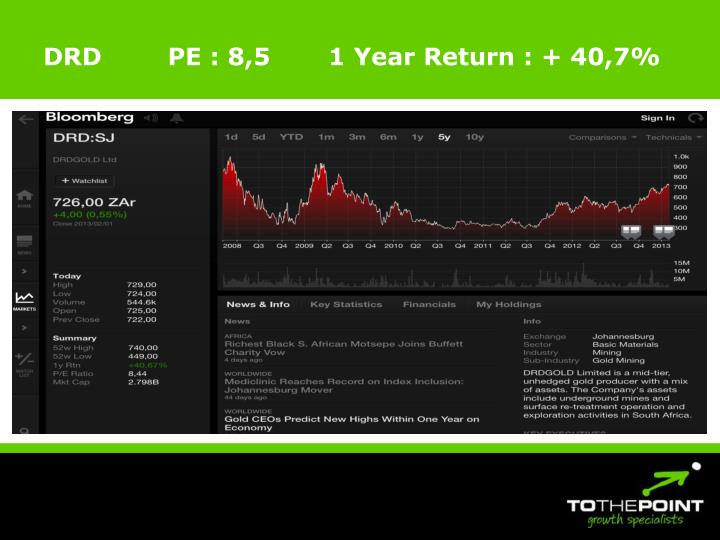 DRD        PE : 8,5       1 Year Return : + 40,7%