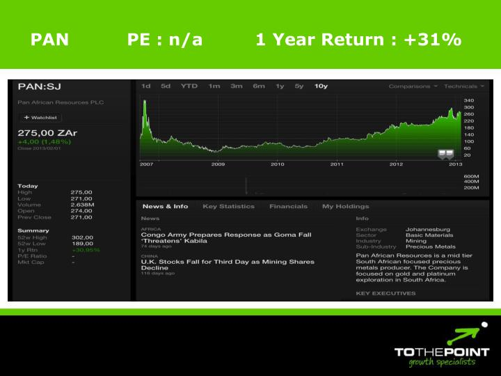 PAN          PE : n/a         1 Year Return : +31%