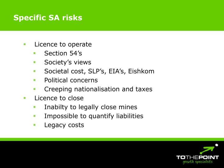 Specific SA risks