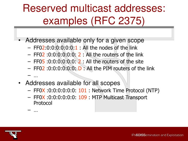 Reserved multicast addresses: examples (RFC 2375)