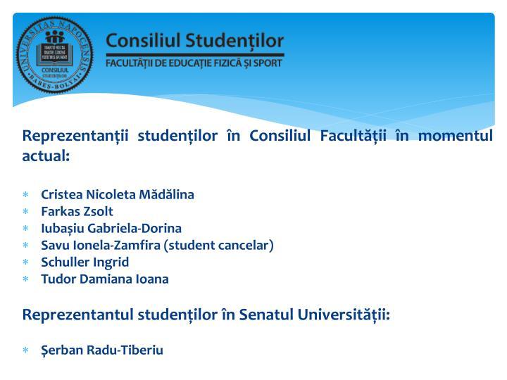 Reprezentanții studenților în Consiliul Facultății în momentul actual
