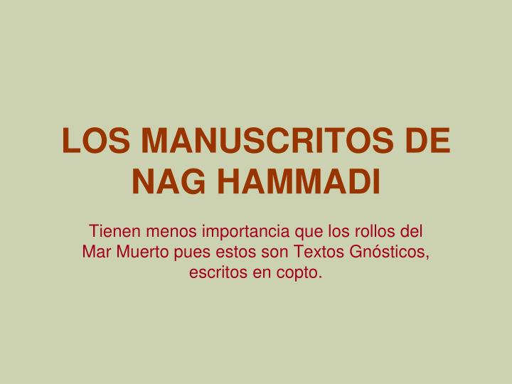 LOS MANUSCRITOS DE NAG HAMMADI