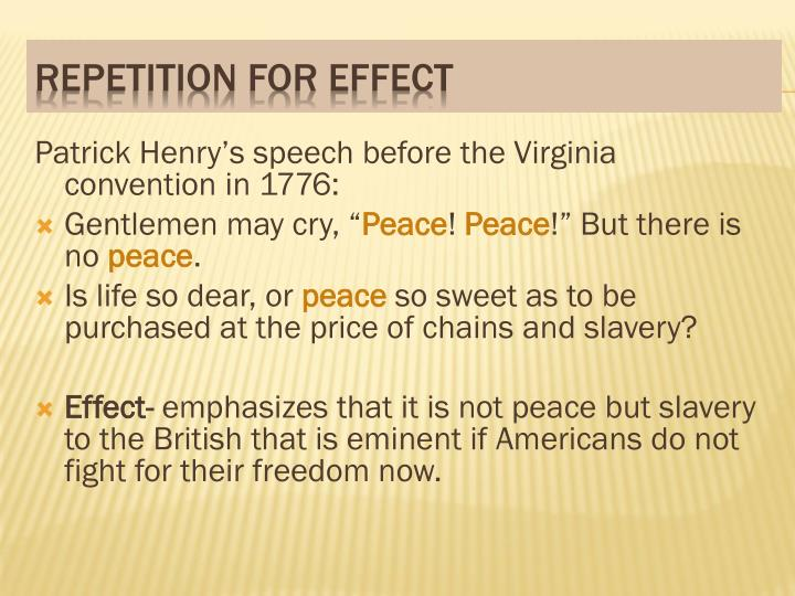 Patrick Henry's speech before the Virginia convention in 1776:
