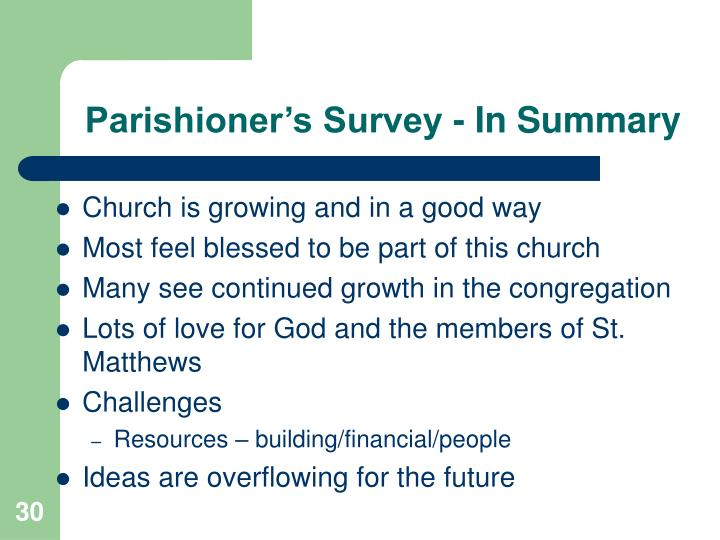 Parishioner's Survey - In Summary