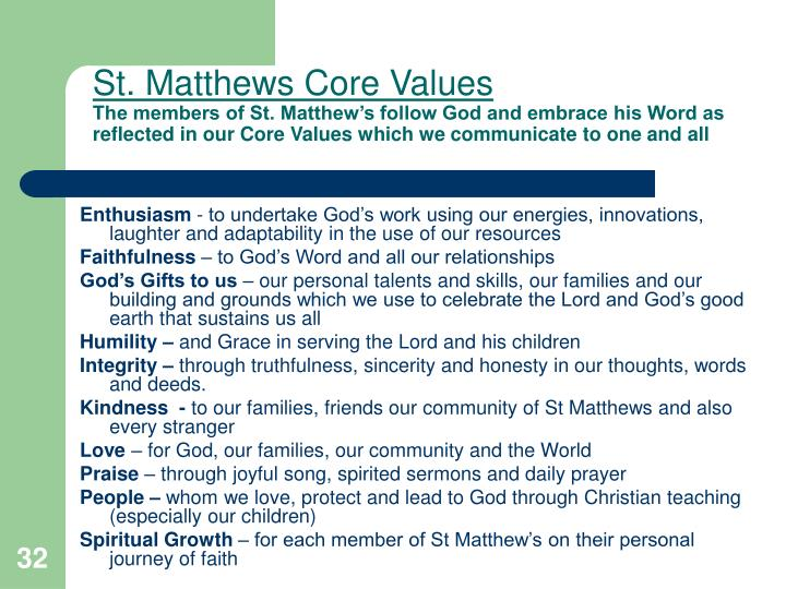 St. Matthews Core Values