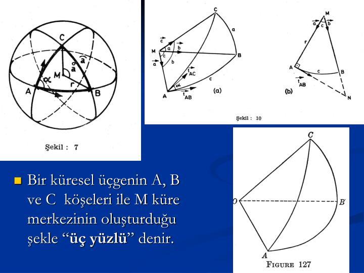 """Bir küresel üçgenin A, B ve C  köşeleri ile M küre merkezinin oluşturduğu şekle """""""