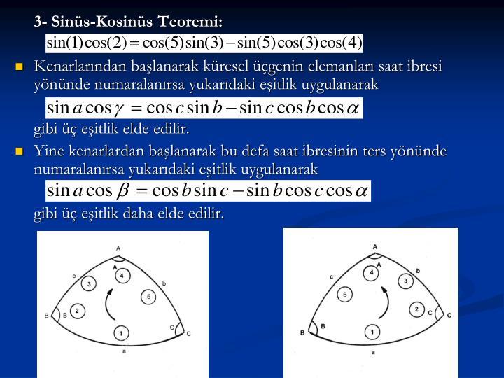 3- Sinüs-Kosinüs Teoremi: