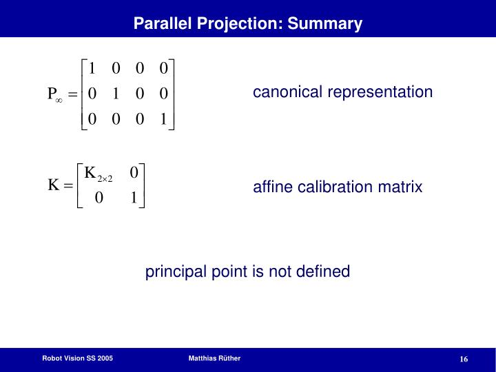 Parallel Projection: Summary