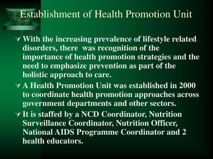 Establishment of Health Promotion Unit