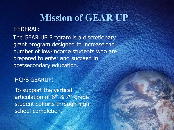 Mission of GEAR UP
