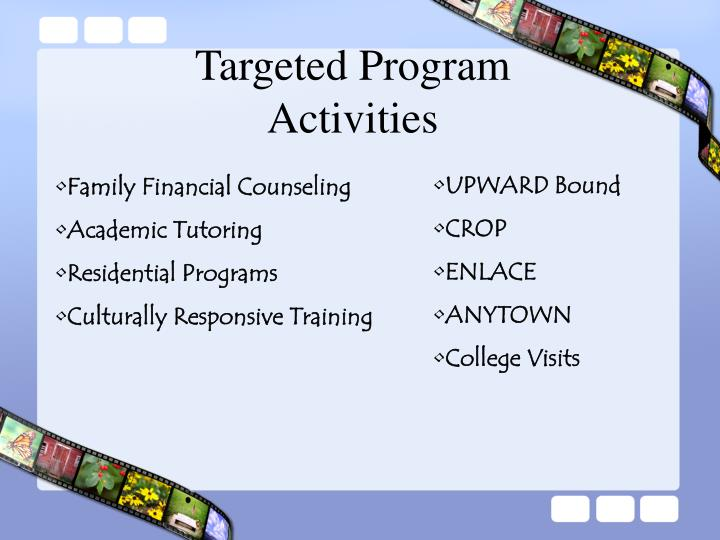 Targeted Program Activities