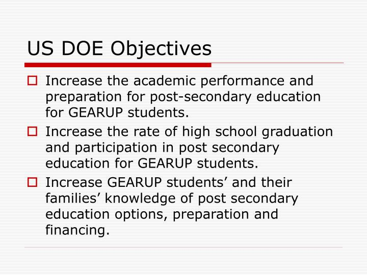 US DOE Objectives