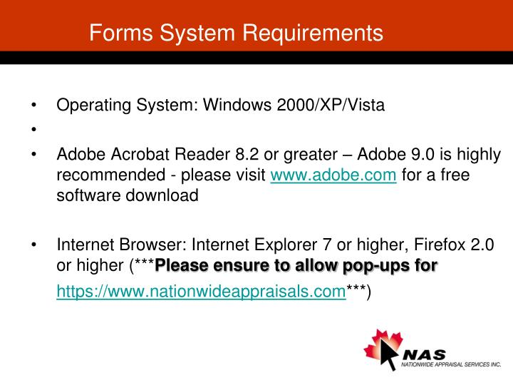Forms System Requirements