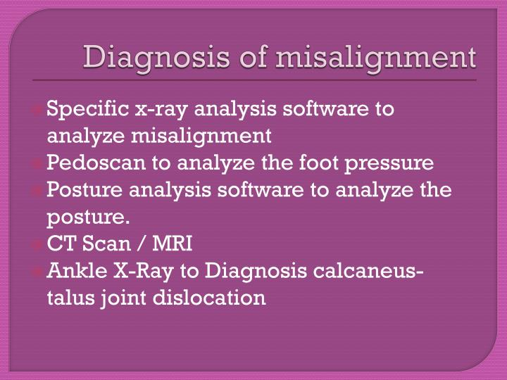 Diagnosis of misalignment