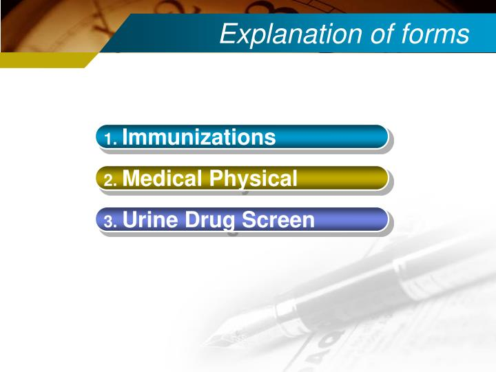Explanation of forms
