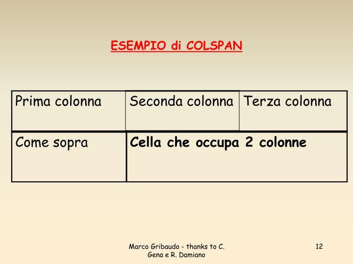 ESEMPIO di COLSPAN