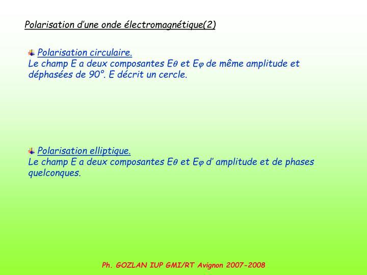 Polarisation d'une onde électromagnétique(2)