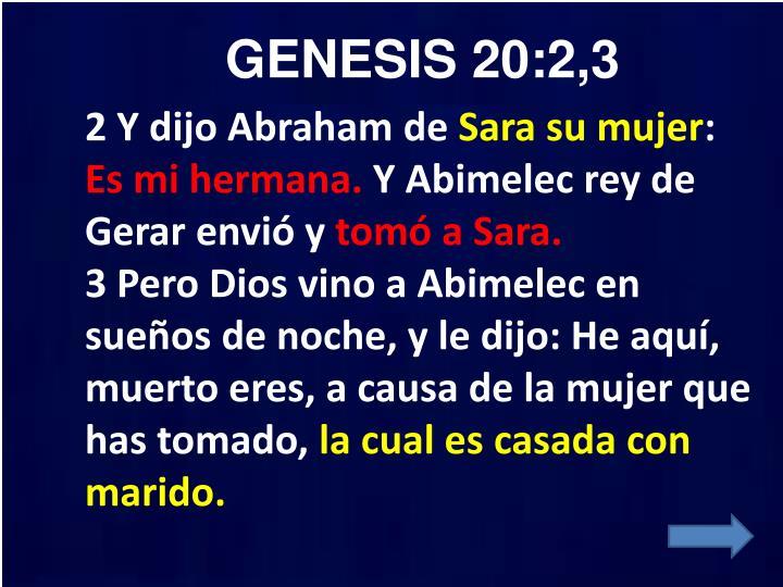 GENESIS 20:2,3