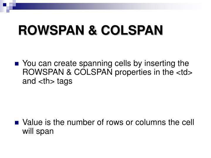 ROWSPAN & COLSPAN