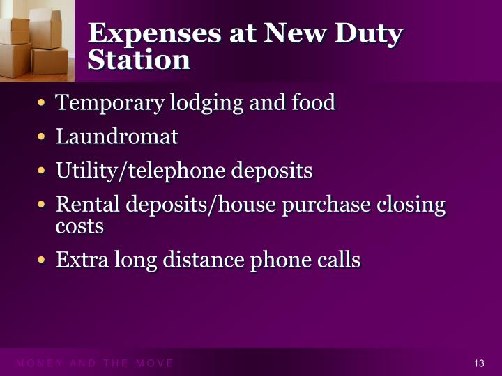 Expenses at New Duty Station