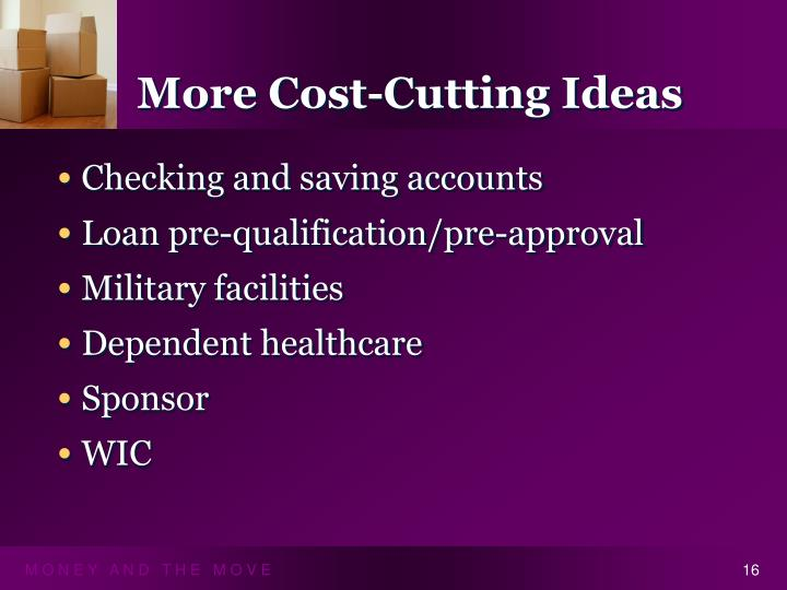 More Cost-Cutting Ideas