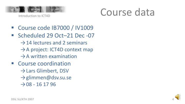 Course data